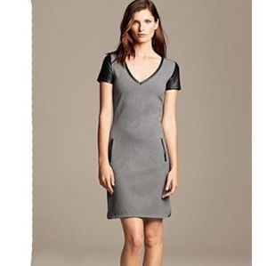 Banana Republic - dress w/ faux leather accents